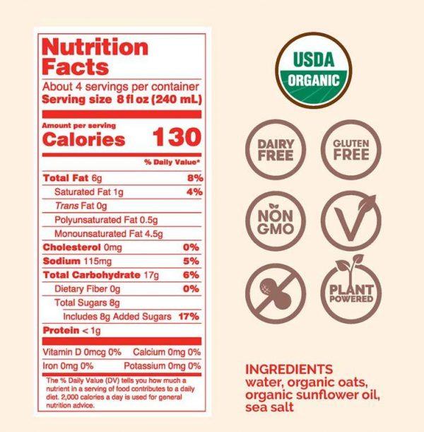 Rise Organic Oat Milk Ingredients